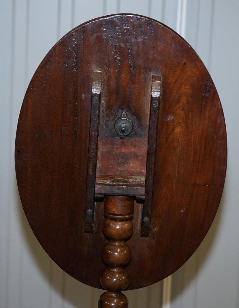 Rare Victorian Bobbin Turned Mahogany Tilt-Top Side End Lamp Wine Tripod Table For Sale 9
