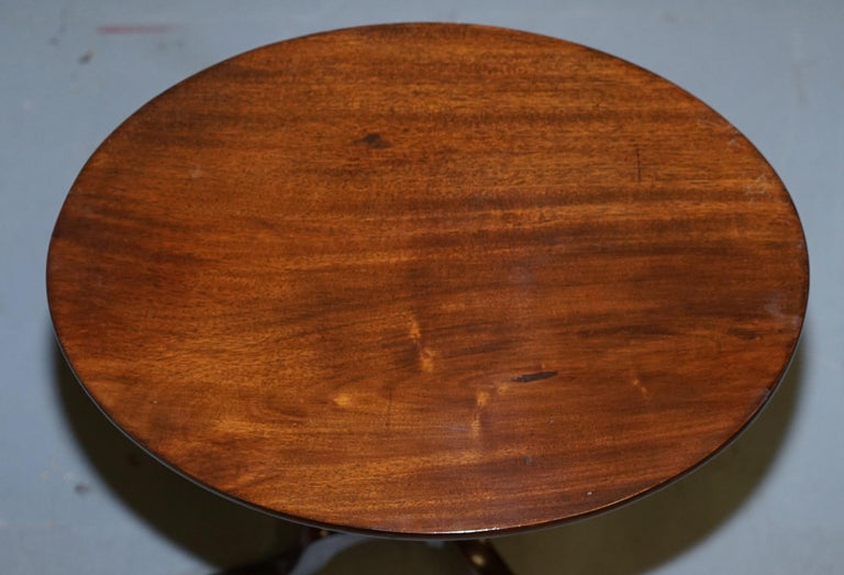 Hand-Crafted Rare Victorian Bobbin Turned Mahogany Tilt-Top Side End Lamp Wine Tripod Table For Sale
