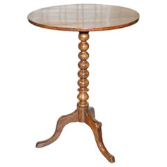 Rare Victorian Bobbin Turned Mahogany Tilt-Top Side End Lamp Wine Tripod Table