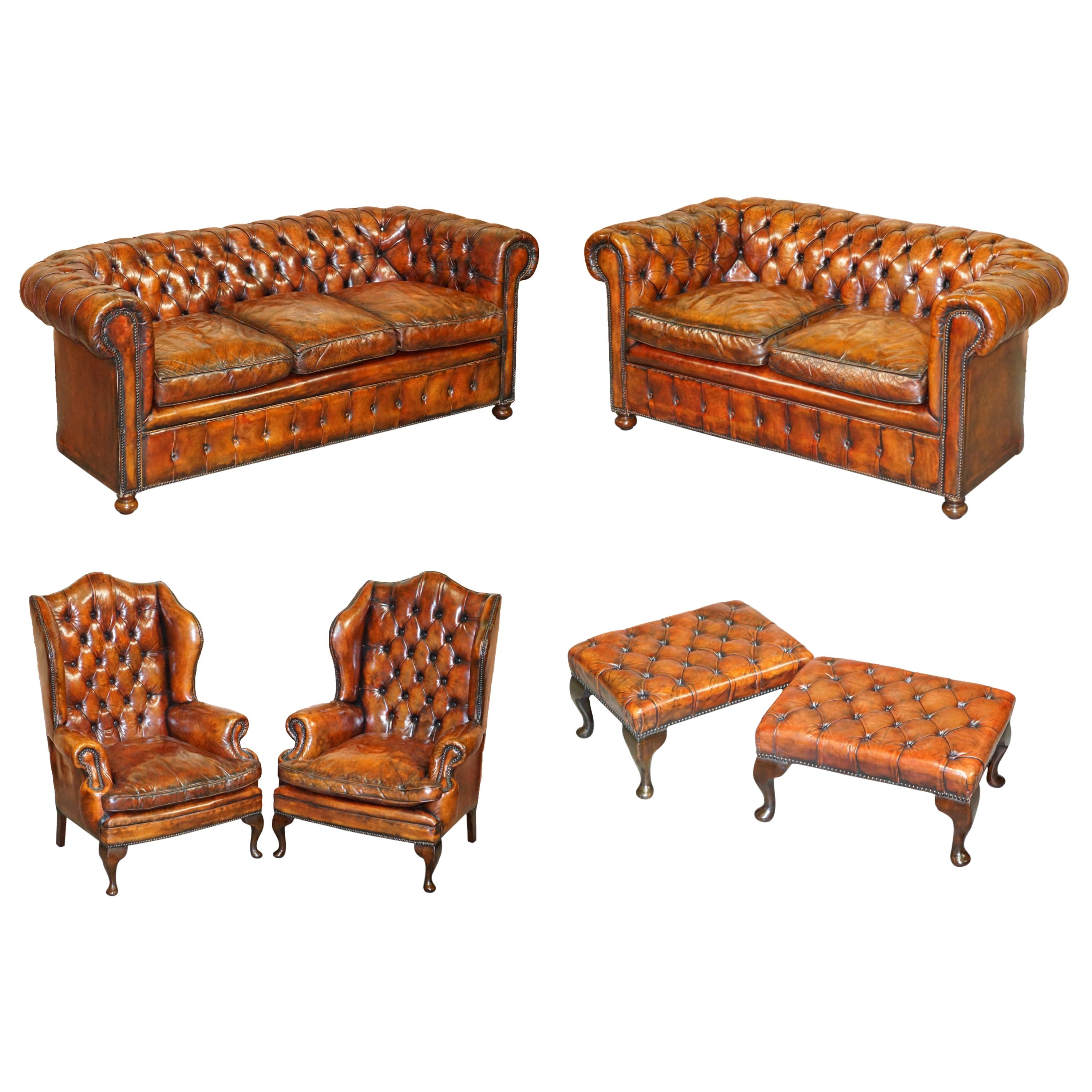 Rare Victorian Chesterfield Brown Leather Six Piece Sofa Armchairs Stool Suite