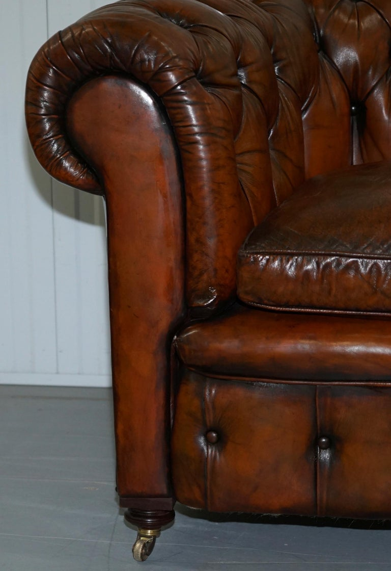 Rare Victorian Chesterfield Hand Dyed Brown Leather Sofa Horse Hair Coil Sprung For Sale 4