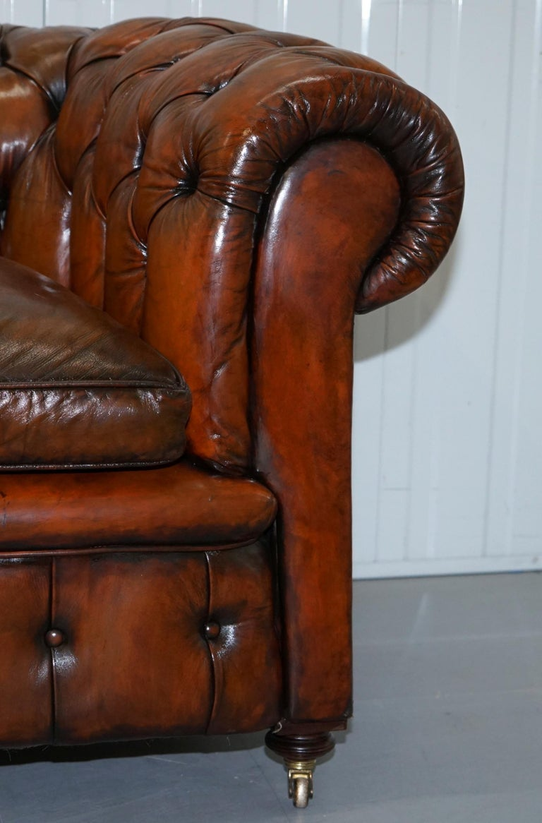 Rare Victorian Chesterfield Hand Dyed Brown Leather Sofa Horse Hair Coil Sprung For Sale 7