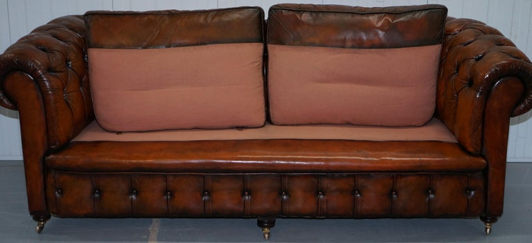 Rare Victorian Chesterfield Hand Dyed Brown Leather Sofa Horse Hair Coil Sprung For Sale 8