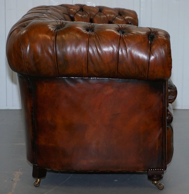 Rare Victorian Chesterfield Hand Dyed Brown Leather Sofa Horse Hair Coil Sprung For Sale 9