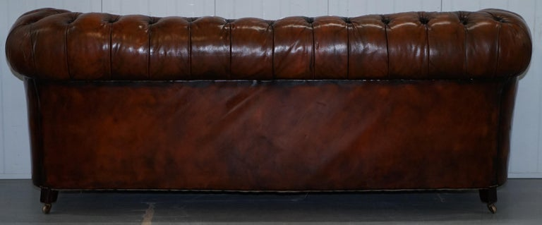 Rare Victorian Chesterfield Hand Dyed Brown Leather Sofa Horse Hair Coil Sprung For Sale 10