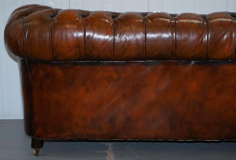 Rare Victorian Chesterfield Hand Dyed Brown Leather Sofa Horse Hair Coil Sprung For Sale 11
