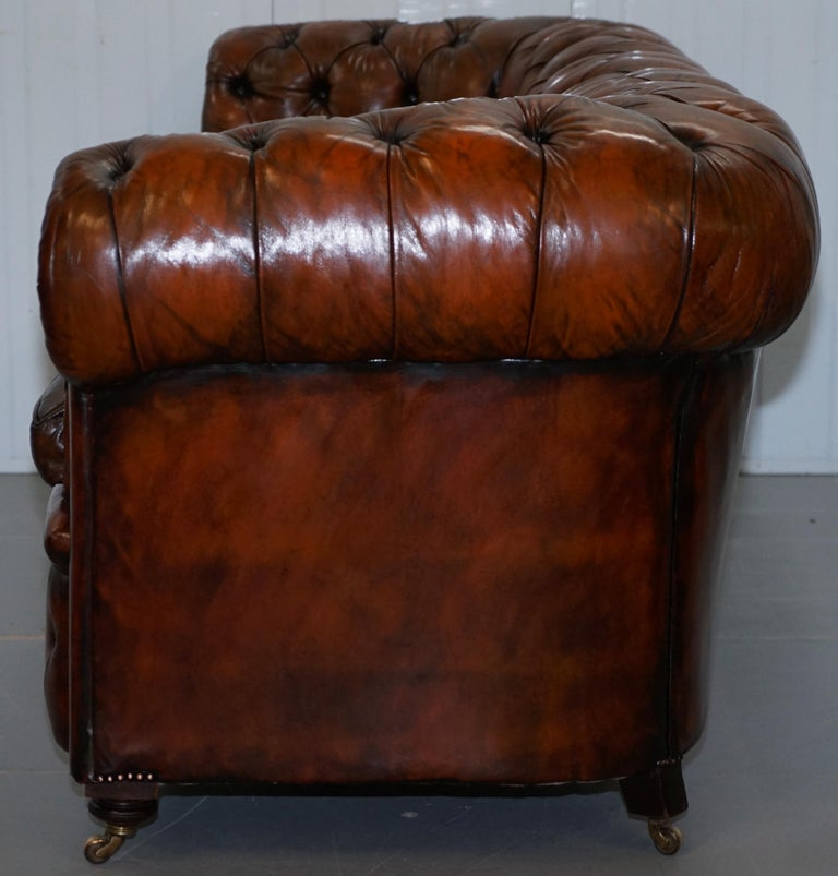 Rare Victorian Chesterfield Hand Dyed Brown Leather Sofa Horse Hair Coil Sprung For Sale 12
