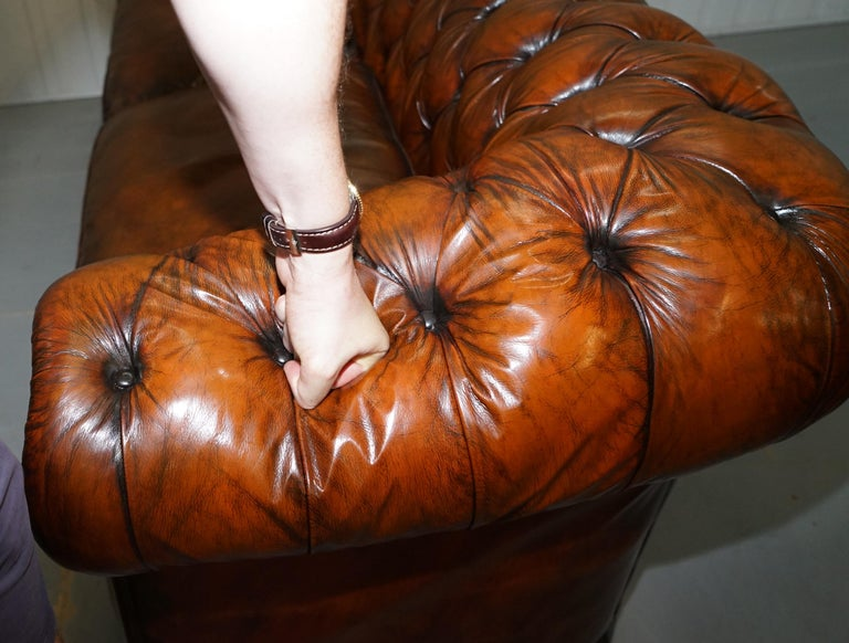 Rare Victorian Chesterfield Hand Dyed Brown Leather Sofa Horse Hair Coil Sprung For Sale 13
