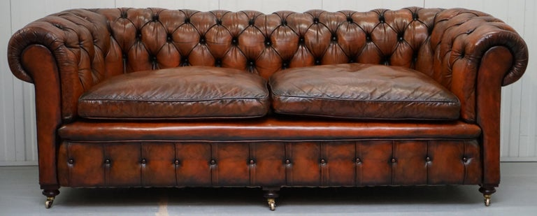 English Rare Victorian Chesterfield Hand Dyed Brown Leather Sofa Horse Hair Coil Sprung For Sale