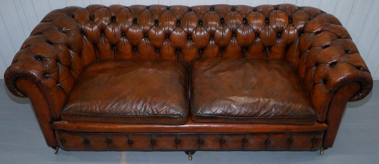 Hand-Crafted Rare Victorian Chesterfield Hand Dyed Brown Leather Sofa Horse Hair Coil Sprung For Sale