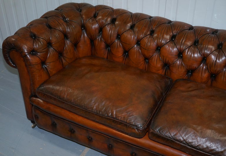 Rare Victorian Chesterfield Hand Dyed Brown Leather Sofa Horse Hair Coil Sprung In Good Condition For Sale In London, GB