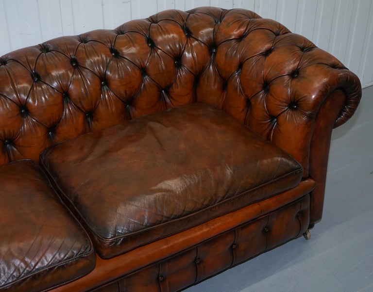 Late 19th Century Rare Victorian Chesterfield Hand Dyed Brown Leather Sofa Horse Hair Coil Sprung For Sale