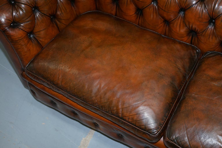 Rare Victorian Chesterfield Hand Dyed Brown Leather Sofa Horse Hair Coil Sprung For Sale 1