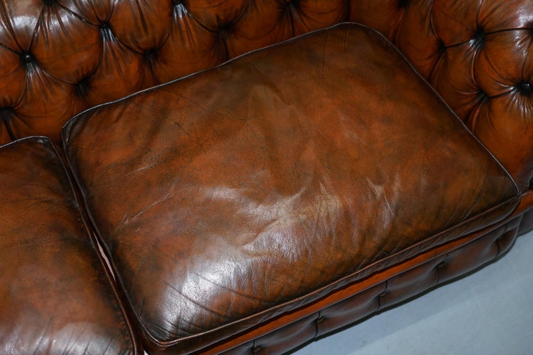 Rare Victorian Chesterfield Hand Dyed Brown Leather Sofa Horse Hair Coil Sprung For Sale 2