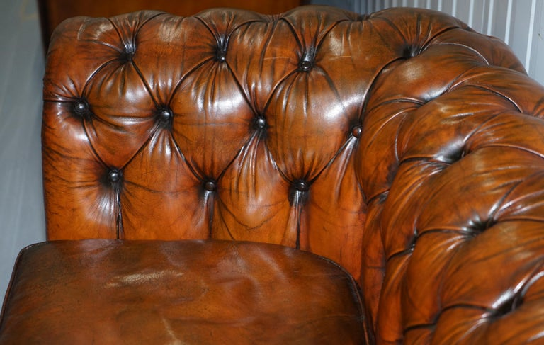 Rare Victorian Chesterfield Hand Dyed Brown Leather Sofa Horse Hair Coil Sprung For Sale 3