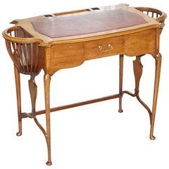 Rare Victorian circa 1860 Small Mahogany Desk Built in Jardinières for Plants