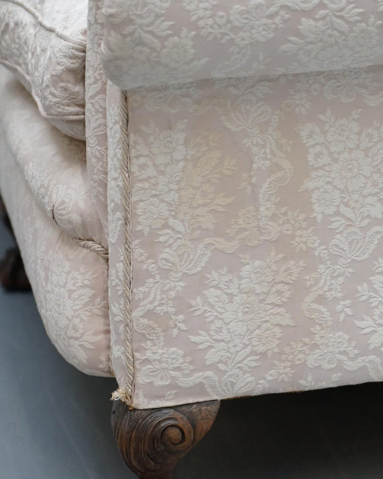 Rare Victorian Damask Upholstery Walnut Carved Lion Paw Feet Sofa Armchair Suite For Sale 6