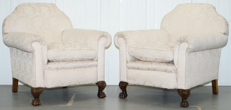 Rare Victorian Damask Upholstery Walnut Carved Lion Paw Feet Sofa Armchair Suite For Sale 7