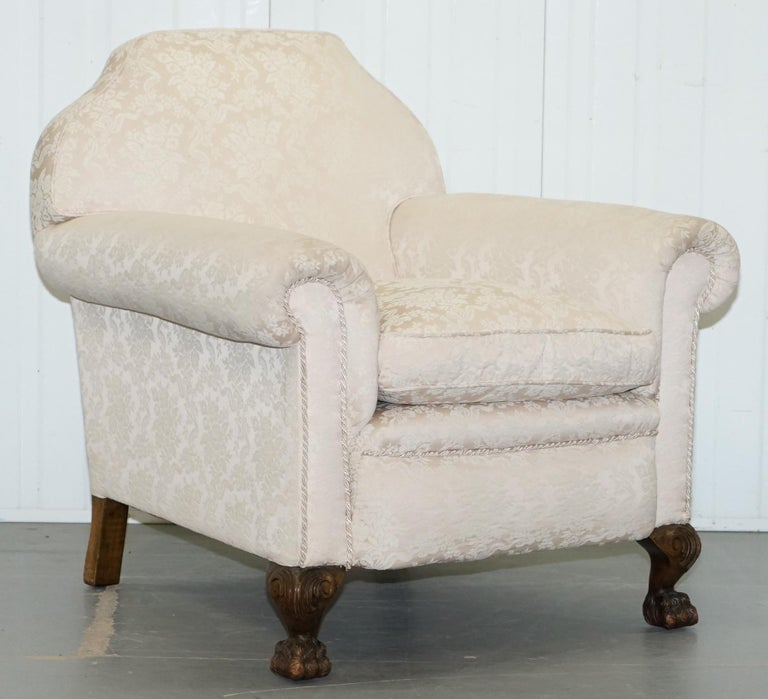 Rare Victorian Damask Upholstery Walnut Carved Lion Paw Feet Sofa Armchair Suite For Sale 8