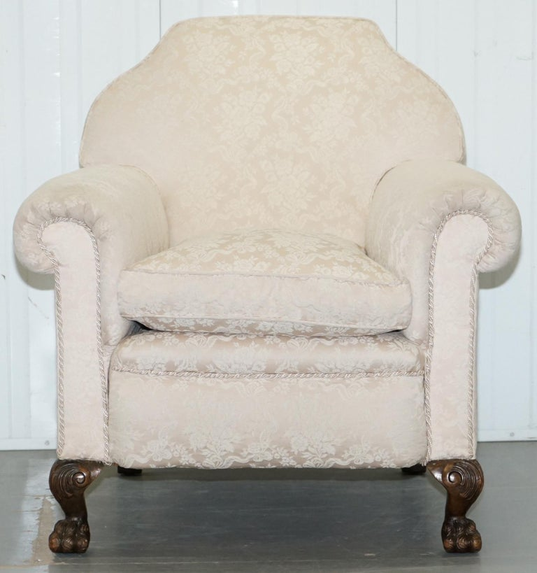 Rare Victorian Damask Upholstery Walnut Carved Lion Paw Feet Sofa Armchair Suite For Sale 9
