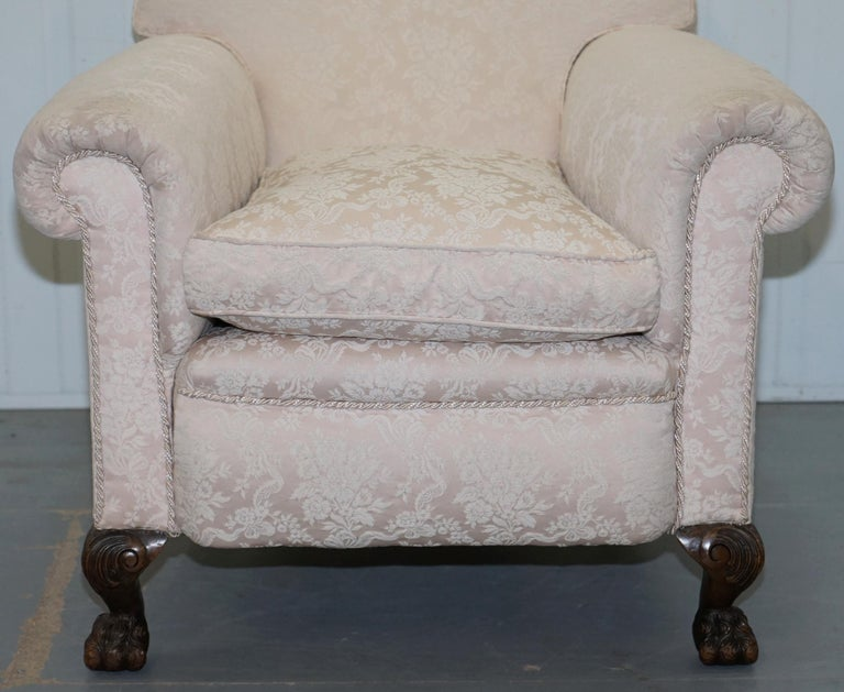 Rare Victorian Damask Upholstery Walnut Carved Lion Paw Feet Sofa Armchair Suite For Sale 11
