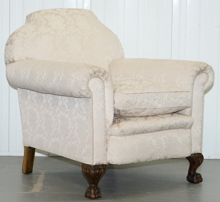 Rare Victorian Damask Upholstery Walnut Carved Lion Paw Feet Sofa Armchair Suite For Sale 13