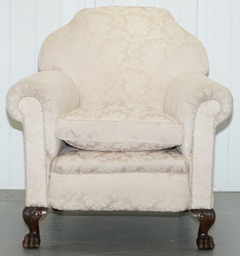 Rare Victorian Damask Upholstery Walnut Carved Lion Paw Feet Sofa Armchair Suite For Sale 14