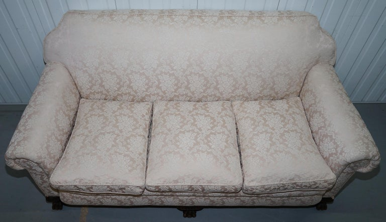 Hand-Crafted Rare Victorian Damask Upholstery Walnut Carved Lion Paw Feet Sofa Armchair Suite For Sale