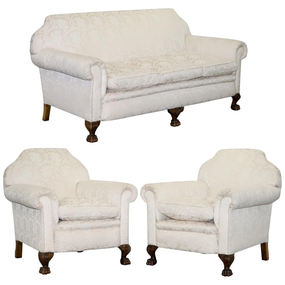 Rare Victorian Damask Upholstery Walnut Carved Lion Paw Feet Sofa Armchair Suite