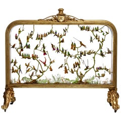 Rare Victorian Firescreen with Taxidermy Hummingbirds by Henry Ward