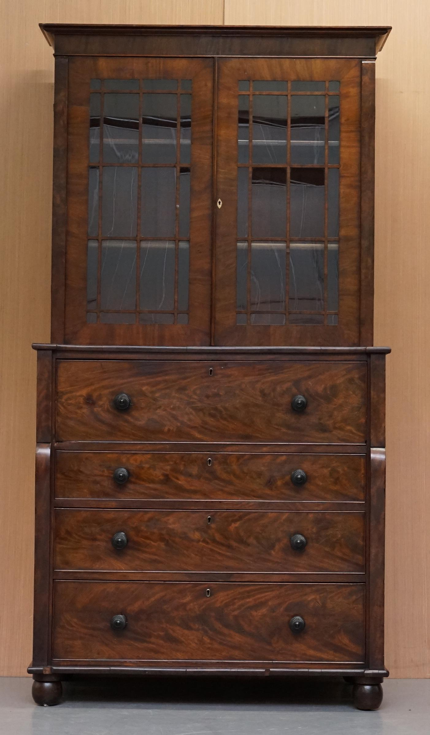 Rare Victorian Flamed Mahogany Library Bookcase Secretaire Desk Chest Of Drawers