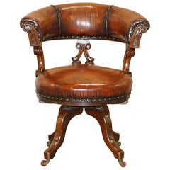 Rare Victorian Fully Restored Brown Leather Ships Captains Swivel Office Chair