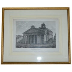 Rare Victorian Grand Tour Antique Print of Pantheon Rome Italy North West View