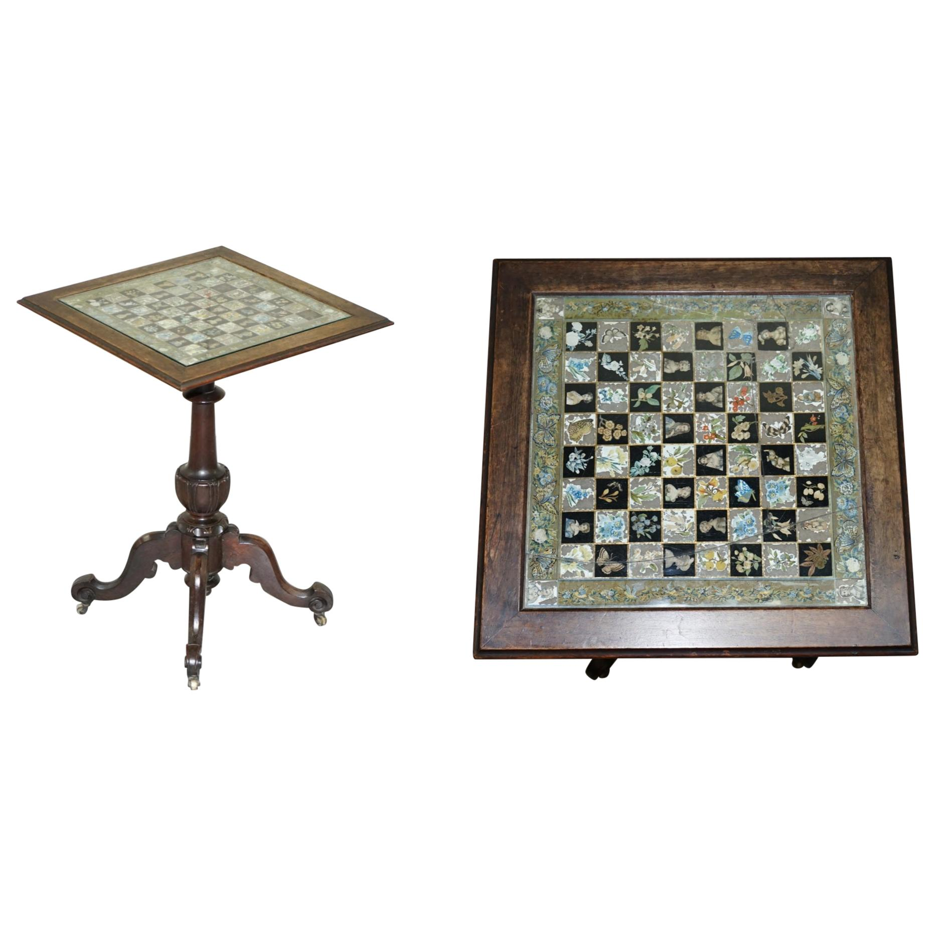 Rare Victorian Hand Carved Chess Table with Decoupage Chess Board Very Ornate