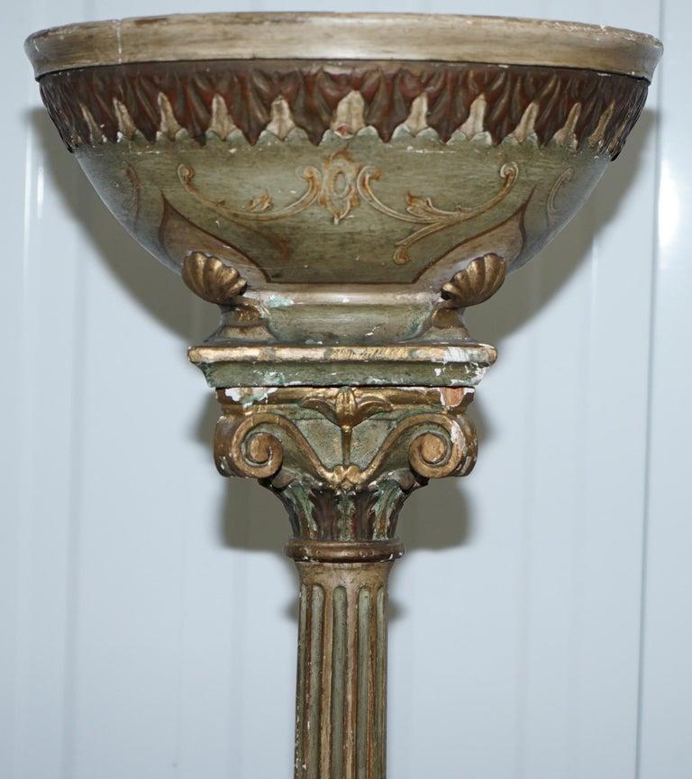 Rare Victorian Hand Painted Italian Venetian Uplighter Floor Standing Lamp For Sale At 1stdibs