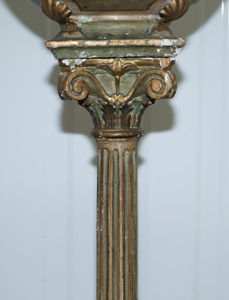 Hand-Carved Rare Victorian Hand-Painted Italian Venetian Uplighter Floor Standing Lamp For Sale