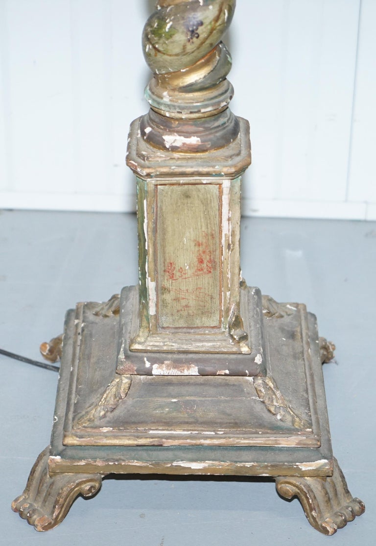 19th Century Rare Victorian Hand-Painted Italian Venetian Uplighter Floor Standing Lamp For Sale