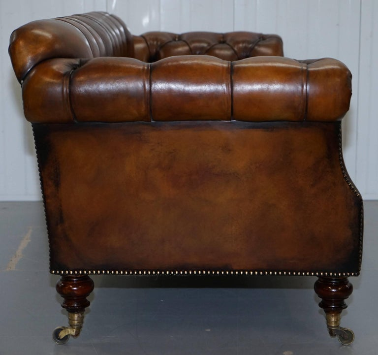 Rare Victorian Howard and Sons Fully Restored Brown Leather Chesterfield Sofa For Sale 5