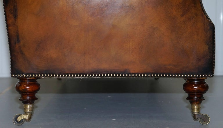 Rare Victorian Howard and Sons Fully Restored Brown Leather Chesterfield Sofa For Sale 6