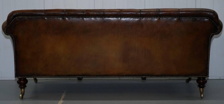 Rare Victorian Howard and Sons Fully Restored Brown Leather Chesterfield Sofa For Sale 7