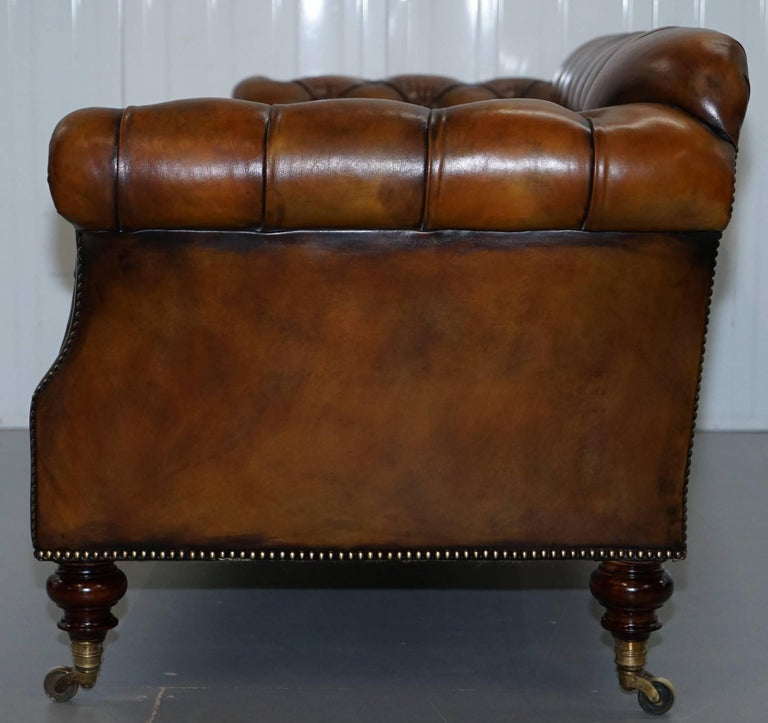 Rare Victorian Howard and Sons Fully Restored Brown Leather Chesterfield Sofa For Sale 8