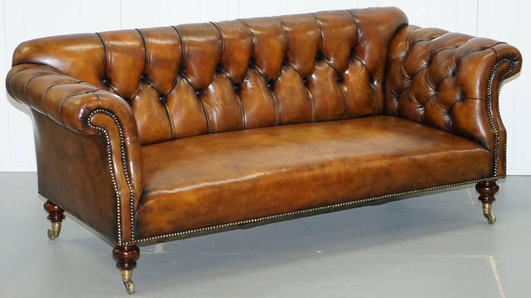 Rare Victorian Howard And Sons Fully Restored Brown Leather