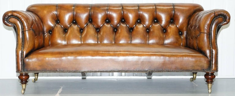British Rare Victorian Howard and Sons Fully Restored Brown Leather Chesterfield Sofa For Sale