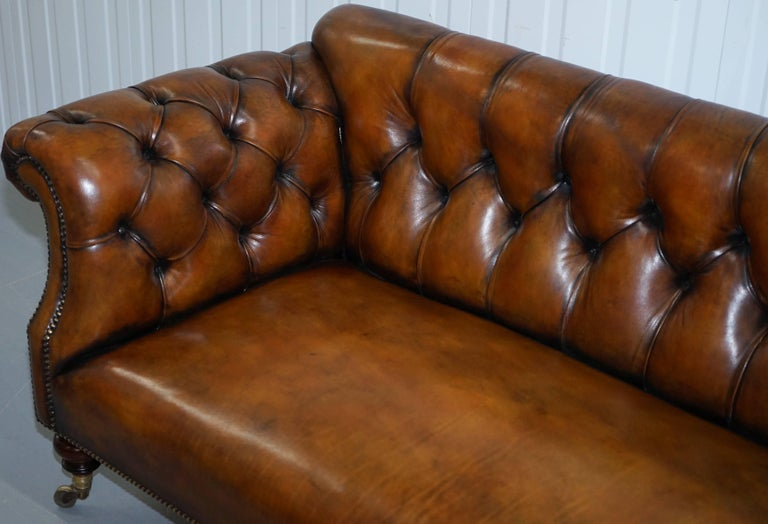 Hand-Crafted Rare Victorian Howard and Sons Fully Restored Brown Leather Chesterfield Sofa For Sale