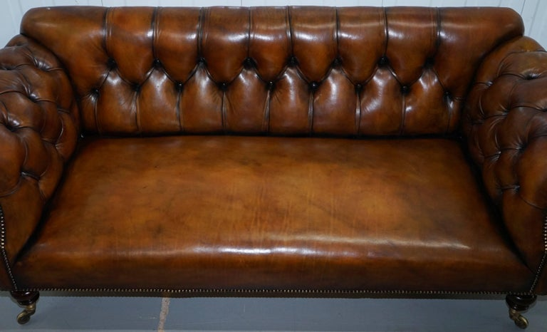 Rare Victorian Howard and Sons Fully Restored Brown Leather Chesterfield Sofa For Sale 1