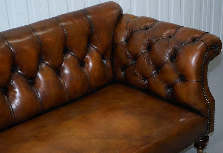 Rare Victorian Howard and Sons Fully Restored Brown Leather Chesterfield Sofa For Sale 2