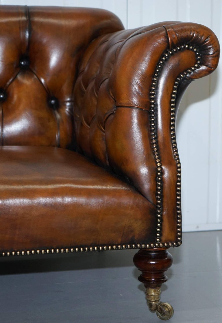 Rare Victorian Howard and Sons Fully Restored Brown Leather Chesterfield Sofa For Sale 3