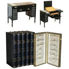 Rare Victorian Lever Brothers London Opticians Desk with Books Hiding Glasses