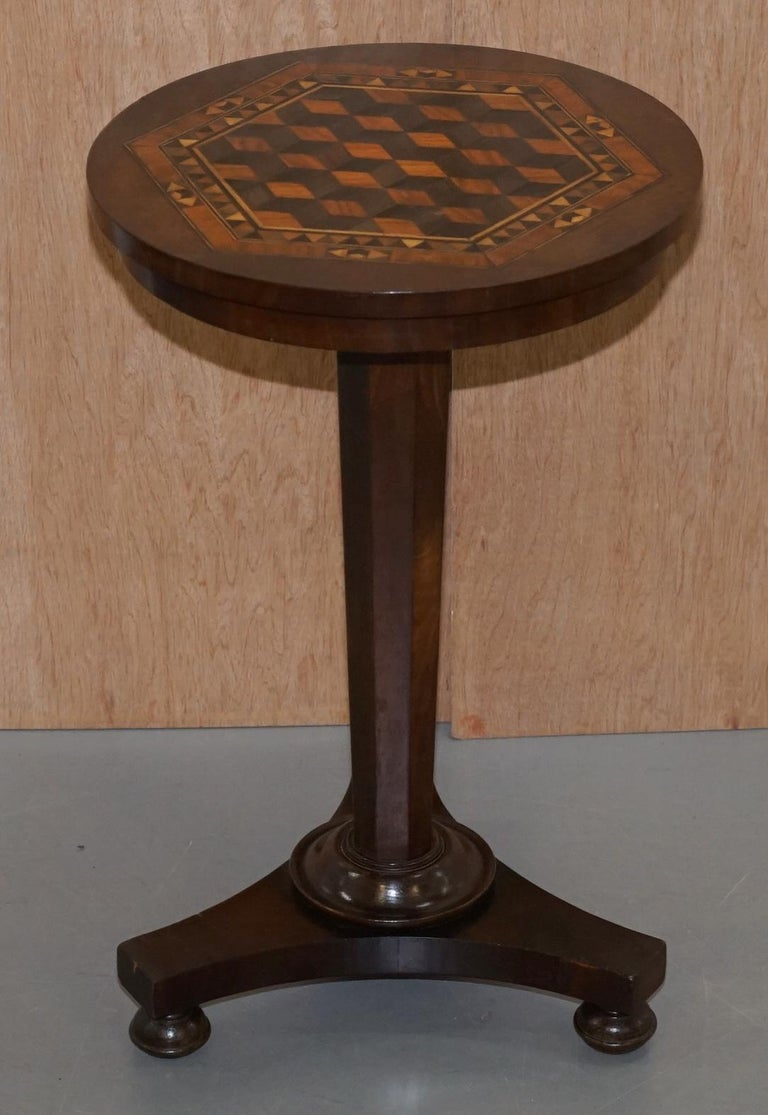We are delighted to offer for sale this sublime Victorian mahogany occasional table with exquisite geometric parquetry inlaid specimen wood top  A very good looking and well made piece, the table top is like a piece of art, its so intelligently
