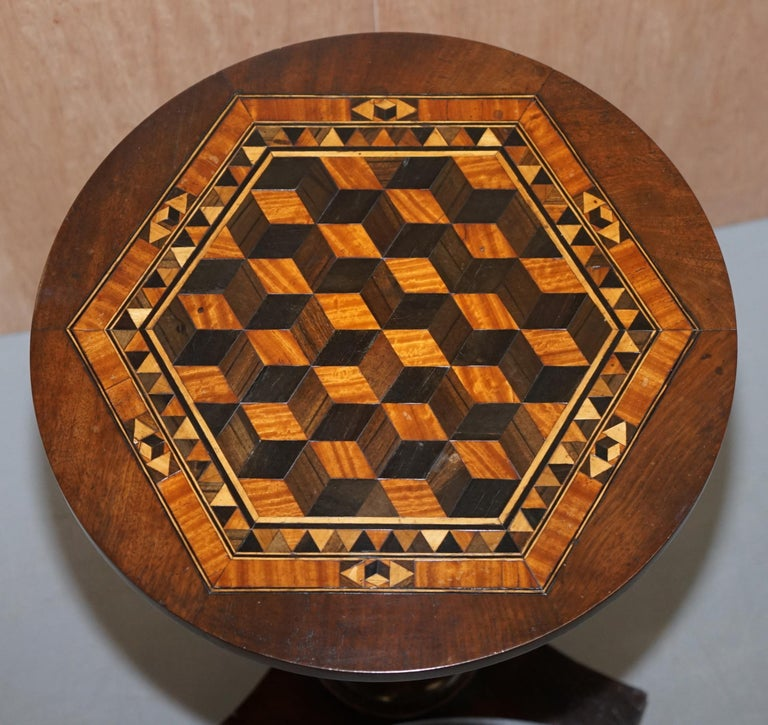 Early Victorian Rare Victorian Mahogany Occasional Table, Geometric Parquetry Inlaid Wood Top For Sale
